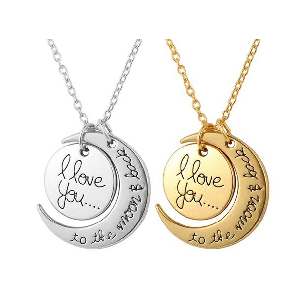 Love you to the moon back necklace amosh european jewellery mozeypictures Images