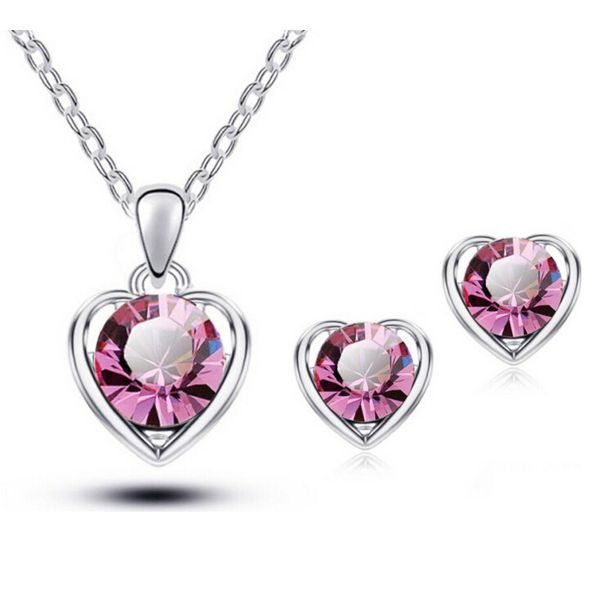 Swarovski Heart Necklace Earring Set
