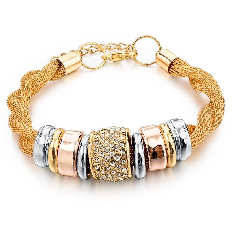 gold rose finish en twisted steel bracelet