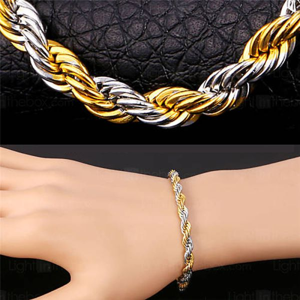 Twisted Gold Silver Bracelet